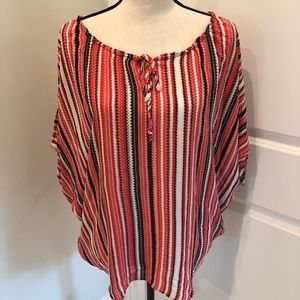 Parker Red Striped Silk Dolman Sleeve Blouse